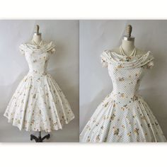 50's Floral Dress // Vintage 1950's Polka Dot Floral Print Cotton Full Garden Party Dress XS. $138.00, via Etsy.