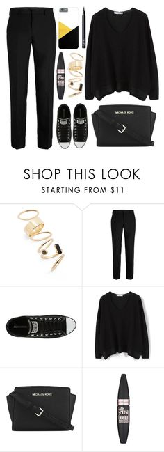 """""""OOTD - Black"""" by by-jwp ❤ liked on Polyvore featuring BP., Converse, MANGO, MICHAEL Michael Kors, Maybelline and NARS Cosmetics"""