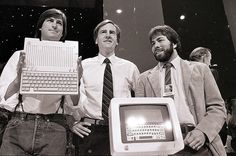 Steve Jobs, CEO of Apple, John Sculley and Steve Wozniak at the presentation of Apple IIc computer in San Francisco, 1984        40 years of Apple history in photos. ... 30  PHOTOS        ... Steve Jobs, Steve Wozniak, and Ronald Wayne co-founded 'Apple Computer' in California on April 1, 1976        More details:         http://softfern.com/NewsDtls.aspx?id=1081&catgry=2            iPad, Apple, SoftFern News, SoftFern Tech News, iPhone, Steve Jobs, Apple Computer, Steve Wozniak, John…