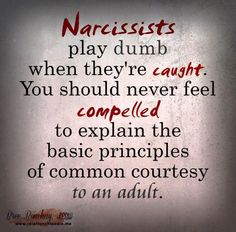 Narcissists play dumb when they're caught. You should never feel compelled to explain the basic principles of common courtesy to an adult.