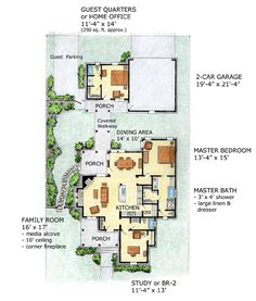 First Floor Plan of Bungalow   Cottage   Narrow Lot   House Plan 56505