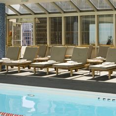 Poolside at Le @ParkerMeridien New York, a hotel in Midtown West, Manhattan, NYC.