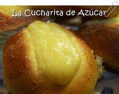 La cucharita de azúcar: Panes dulces rellenos con crema Margarita, Baked Potato, Hamburger, Potatoes, Bread, Elba, Baking, Bananas, Scones