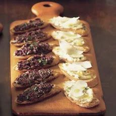 Crostini with white bean puree (right) from Williams-Sonoma