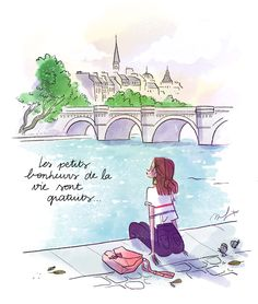 Illustration Parisienne, Paris Illustration, Illustrations, Morning Beauty Routine, Me And My Dog, Fall Is Coming, I Love Paris, Happy Day, Flower Power