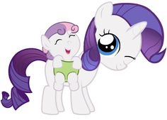 Awwww filly Rarity & baby Sweetie Belle <3 (Rarity is such a good sister)