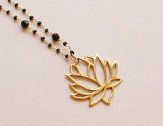 Black Onyx Lotus Necklace by checkeredzebra on Etsy