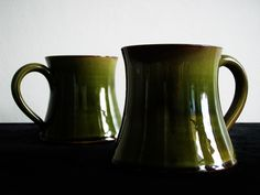 Wetheriggs Penrith / Hand Thrown Pottery / green mugs