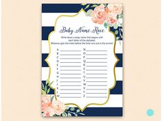 Navy Blue and Gold Baby name race Alphabet baby name race #babyshowerideas4u #birthdayparty #babyshowerdecorations #bridalshower #bridalshowerideas #babyshowergames #bridalshowergame #bridalshowerfavors #bridalshowercakes #babyshowerfavors #babyshowercakes