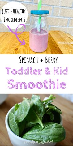 This berry spinach smoothie is an easy recipe to make for kids or toddlers. This is a good food idea for breakfast or serve with lunches or a healthy snack for toddlers! recipe for toddlers Spinach Toddler and Kid Smoothie Recipe Toddler Smoothies, Healthy Toddler Snacks, Easy Smoothies, Toddler Food, Green Smoothies, Smoothies For Babies, Good Snacks For Kids, Healthy Breakfast For Toddlers, Kids Healthy Lunches