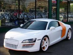 White and Orange detail  R8 looks great!