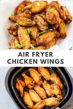 You won't believe how easy it is to make these Air Fryer Chicken Wings! Made with pantry staples, these crispy wings are finger-licking good! Air fried to golden perfection, these wings are going to disappear fast off your dinner table #airfryerchickenwings #airfryerchickenwingsrecipe Gluten Free Recipes For Breakfast, Best Gluten Free Recipes, Whole30 Recipes, Yummy Chicken Recipes, Yum Yum Chicken, Healthy Appetizers, Appetizer Recipes, Air Fryer Chicken Wings, Air Fryer Dinner Recipes