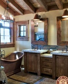 Always wanted a copper tub. Simple and Rustic Bathroom Design for Modern Home : Classic Rustic Barn Bathroom With Double Wooden Vanity Rustic Bathroom Designs, Rustic Bathrooms, Dream Bathrooms, Bathroom Interior Design, Beautiful Bathrooms, Modern Bathroom, Small Bathroom, Interior Ideas, Log Cabin Bathrooms