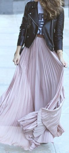 pleated maxi skirt. biker jacket.