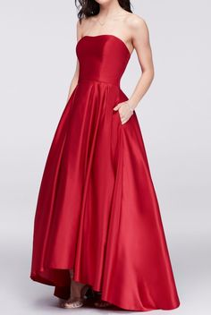 133be034f4a92 BETSY AND ADAM Strapless High-Low Satin Ball Gown in Red Mikado Rent $90 (