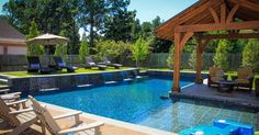 Swimming Pool:Wonderful Decorating Backyard Small Pool Designs Inspiration With L Shape Pool Also Covered Outdoor Seating Plus Lounge Chairs Over Patio Umbrella Interesting Small Pool Ideas in Backyard Small Backyard Design, Small Backyard Pools, Backyard Pool Landscaping, Backyard Pool Designs, Large Backyard, Backyard Pergola, Backyard Ideas, Landscaping Ideas, Small Backyards