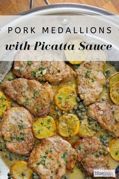 Pork Medallions with Picatta Sauce Pork tenderloin medallions pan fried and finished with a Picatta sauce of white wine, lemon juice and capers. Serve over rice or pasta for a perfect and easy meal. Pork Picatta Recipe, Healthy Recipes, Cooking Recipes, Cooking Pork, Healthy Food, Pork Tenderloin Medallions, Sauce For Pork Tenderloin, Roast Brisket, Recipes With Pork Tenderloin