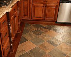 cherry trim around cabinets - floor