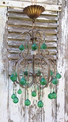 antique 1920s petite chandelier, macaroni beads and green glass drops