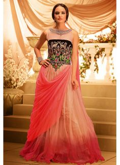 Beige Net  Gown With Stone Work