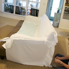 the process of scouring the surface of the earth for the perfectly shaped sofa, and the great friend who slipcovered it for me. Diy Sofa Cover, Sofa Covers, Furniture Update, Diy Furniture, Home Projects, Sewing Projects, Sewing Ideas, Canapé Diy, Furniture Upholstery