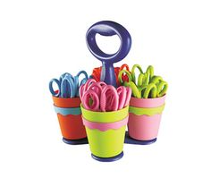 """Westcott Scissor Caddy including 24 pieces of 5"""" Pointed Kids Scissors with Microban Antimicrobial Product Protection"""