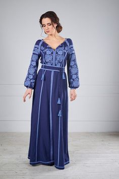 """The dress embroidered long: for sale, the price in Kiev. Platja zhenskye as """"Design Studio Oksana Polonets"""" - 453538140 Stunning Dresses, Stylish Dresses, Fashion Dresses, Ukrainian Dress, Warm Outfits, Blouse Styles, Bollywood Fashion, Indian Outfits, Dress Patterns"""