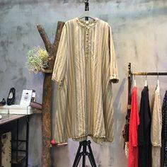 Cotton linen loose shirt dress