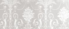 Josette White/Dove Grey Damask Wallpaper at Laura Ashley Wallpaper and matching curtains