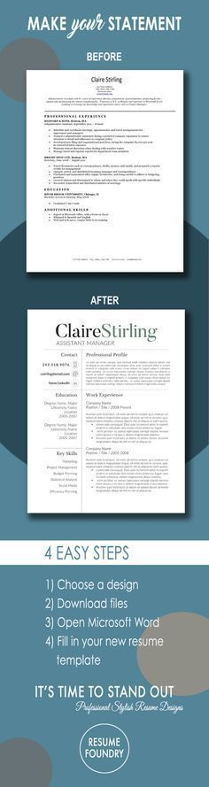 Modern Resume Template for use with Microsoft Word RESUMES + - resume template fill in
