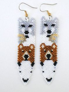 Native American Inspired Totem Pole Feather Earrings - Wolf Eagle Bear and White Buffalo These earrings are hand stitched by me bead by bead one-bead-at-a-time Many hours were spent on Brick Stitch Earrings, Seed Bead Earrings, Feather Earrings, Beaded Earrings, Seed Beads, Earrings Photo, Perler Beads, Beaded Jewelry, Indian Beadwork