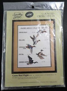 "Counted Cross Stitch Kit Game Bird Flight Canada Goose Mallard 14"" x 18"" #CandamarDesigns #Picture"