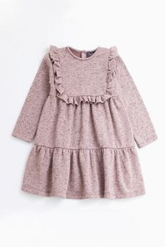Tocoto Vintage has designed a soft and plush girls dress with a ruffle trim around the front and a tiered A-line body. Little Dresses, Little Girl Dresses, Girls Dresses, Pink Dresses, Romper Dress, Baby Dress, Tocoto Vintage, Fashion Kids, Fashion Black