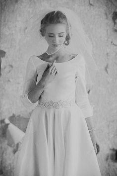 Ruche Bridal, vintage-inspired, long sleeves