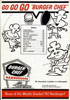 Vintage Burger Chef Menu