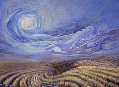 Van Gogh - Vento: I love this particular Van Gogh...look at that sky, the swirls, the color in contrast to the golden field below... #artpainting