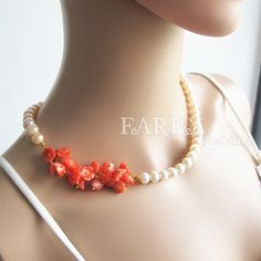 Love the splash of colour with the ordinary pearls.  (would be great with a bridal colour)