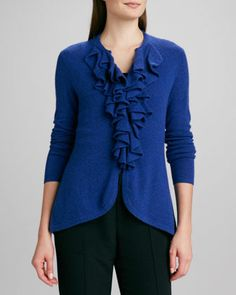 Cashmere Ruffle-Front Cardigan by Magaschoni at Neiman Marcus.