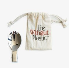 This practical foldable stainless steel spork in a certified organic cotton carry pouch is one of our absolute favorite products - a must-have for all #mylifewithoutplastic