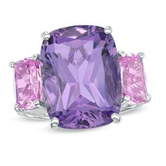Cushion-Cut Amethyst and Lab-Created Pink Sapphire Ring in Sterling Silver - Size 7