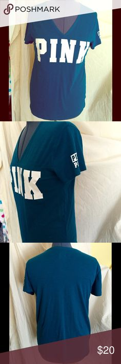 PINK Victoria's Secret v-neck tee in teal size L PINK Victoria's Secret teal v-neck tee like new, worn maybe once PINK Victoria's Secret Tops Tees - Short Sleeve