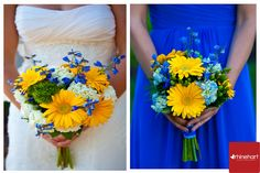 Blue and yellow wedding color scheme ... Wedding ideas for brides & bridesmaids, grooms & groomsmen, parents & planners ... https://itunes.apple.com/us/app/the-gold-wedding-planner/id498112599?ls=1=8 … plus how to organise an entire wedding, without overspending ♥ The Gold Wedding Planner iPhone App ♥