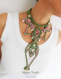 OOAK soutache statement necklace green necklace floral jewelry set gift idea fiber art jewelry fairytail jewelry victorian choker necklace by MagdoTouch on Etsy