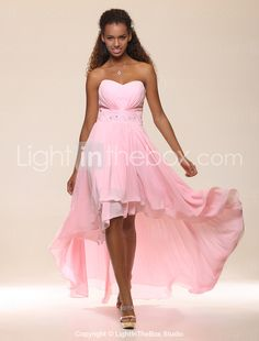 High Low Sweetheart Chiffon Evening Gown. Now here we go, very feminine but no shoulders.
