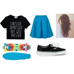 """""""Skater Chic"""" by devlee-love-the-sun on Polyvore I WANT THAT EXACT PENNY BOARD"""