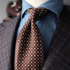 """violamilano: """"Viola Milano printed """"Multi Circle self-tip wool - Brown"""" tie at @patina_hk Buy your ties at @patina_hk in Hong Kong… To shop online visit www.violamilano.com #violamilano #handmade..."""