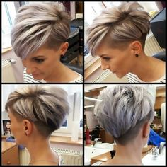 Today we have the most stylish 86 Cute Short Pixie Haircuts. We claim that you have never seen such elegant and eye-catching short hairstyles before. Pixie haircut, of course, offers a lot of options for the hair of the ladies'… Continue Reading → Short Hair Undercut, Short Pixie Haircuts, Cute Hairstyles For Short Hair, Curly Hair Styles, Haircut Short, Pixie Cut With Undercut, Hairstyles Haircuts, Edgy Pixie Hairstyles, Pixie Bangs