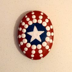 Patriotic star painted rock
