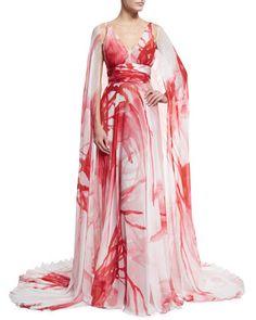 ~ Printed Chiffon V-Neck Cape Gown, Ivory/Coral ~ | Naeem Khan | neimanmarcus.com