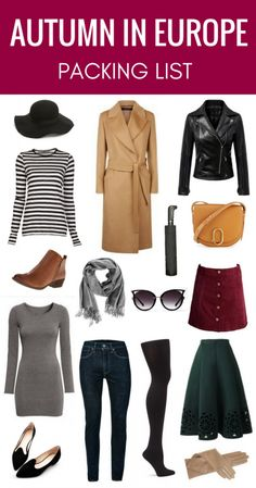 Packing for Autumn in Europe: Here's a packing list to help you decided what to pack for your upcoming trip to Europe so you can look stylish and stay warm!